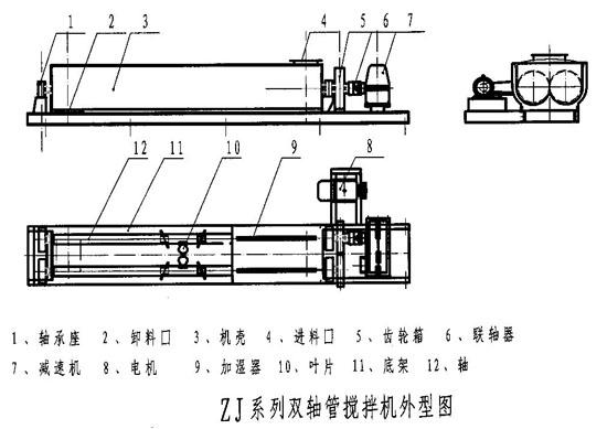 双轴螺旋搅拌机CAD图纸